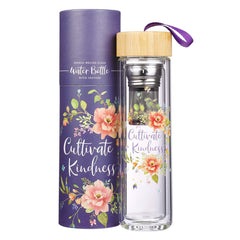 Cultivate Kindness Glass Infuser Water Bottle