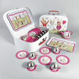 BUNNY RABBIT 15 PIECE TIN TEA SET
