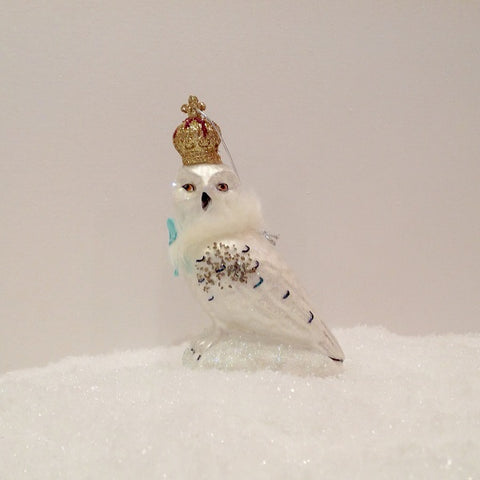 REGAL ARCTIC OWL GLASS DECORATION