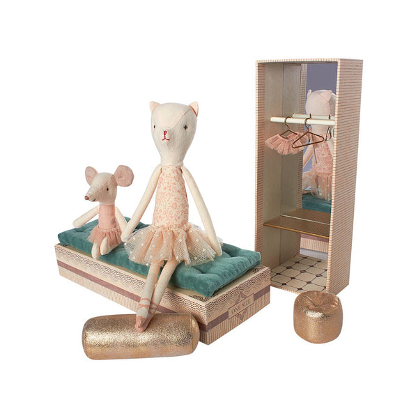 MAILEG BALLET SHOES BOX WITH DANCING CAT AND MOUSE