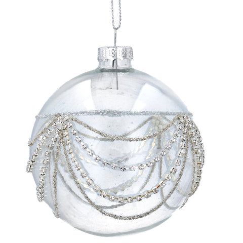 Silver Diamanté Swags Clear Glass Ball