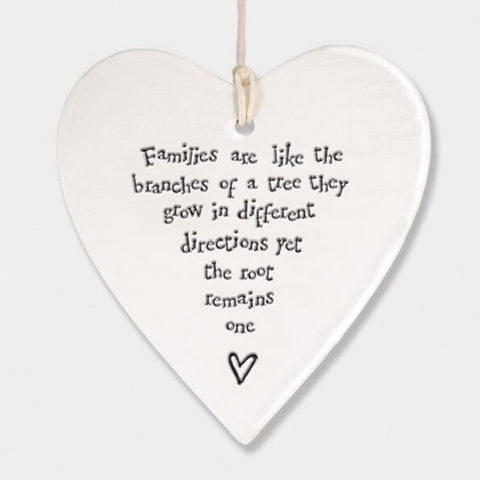FAMILIES ARE LIKE THE BRANCHES OF A TREE CERAMIC HEART