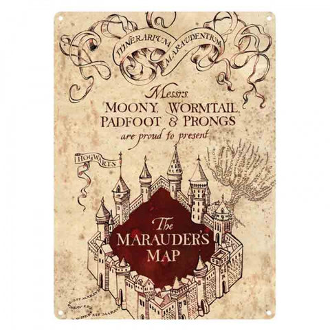 HARRY POTTER MARAUDERS MAP A5 METAL SIGN