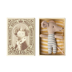 MAILEG SLEEPY WAKEY BABY BOY MOUSE IN MATCHBOX