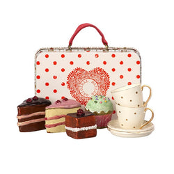 MAILEG SUITCASE WITH CAKES AND TABLEWARE FOR 2
