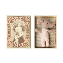 MAILEG SLEEPY WAKEY BABY GIRL MOUSE IN MATCHBOX