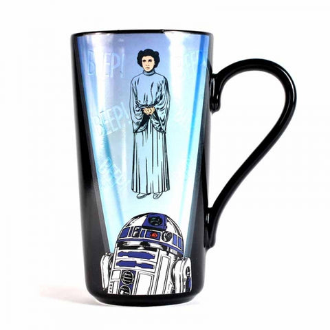 STAR WARS R2D2 AND PRINCESS LEIA HEAT CHANGING LATTE MUG