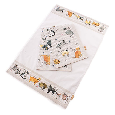 CURIOUS CATS SET OF TWO TEA TOWELS