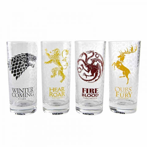 GAME OF THRONES SET OF 4 HOUSE SIGILS GLASSES