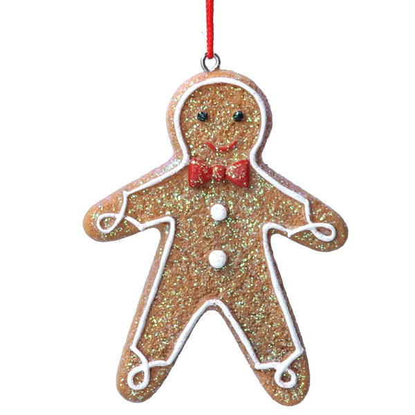 Gingerbread Man with Red Bow Tie Decoration