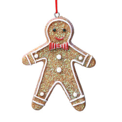 Gingerbread Man with Striped Bow Tie Decoration