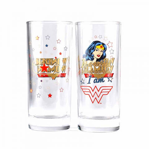 WONDER WOMAN SET OF 2 GLASSES