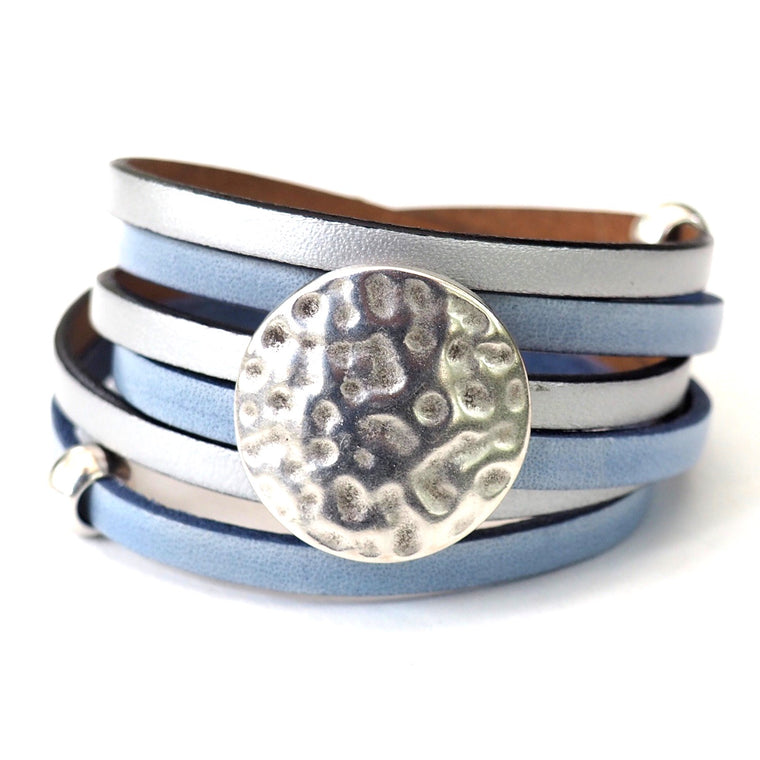 Silver & Cornflower Blue Whirly~ SMALL