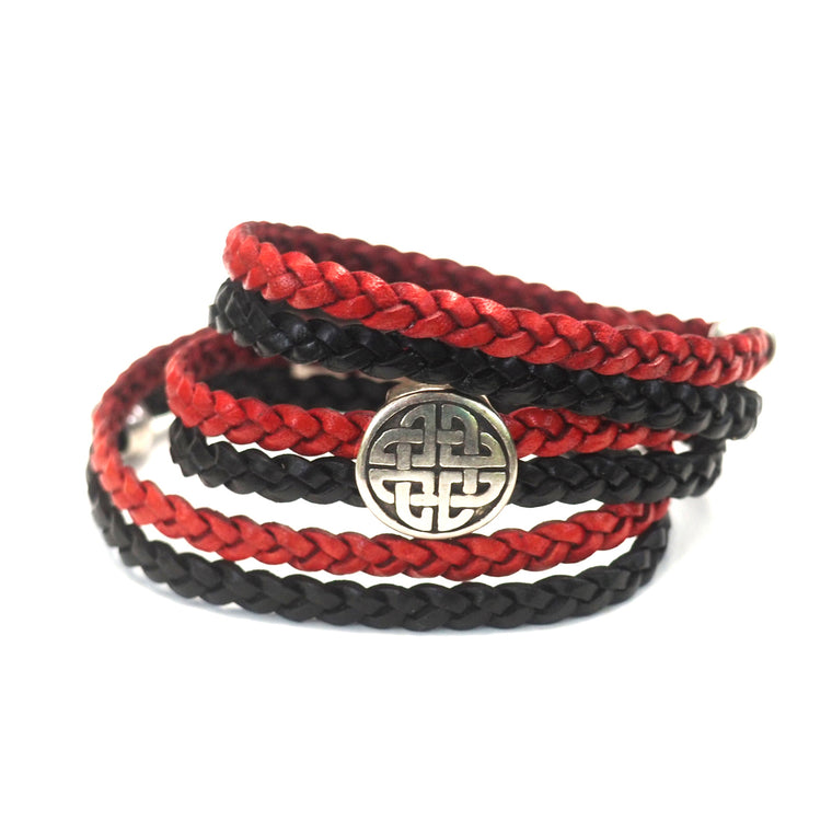 Red & Black Braided Leather Celtic- AVERAGE