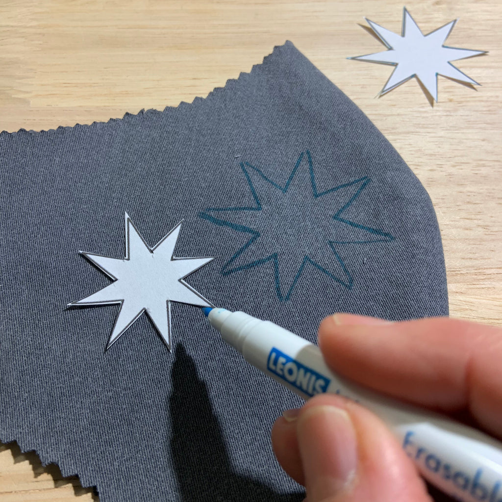 Gold Stars Stitched on Gray