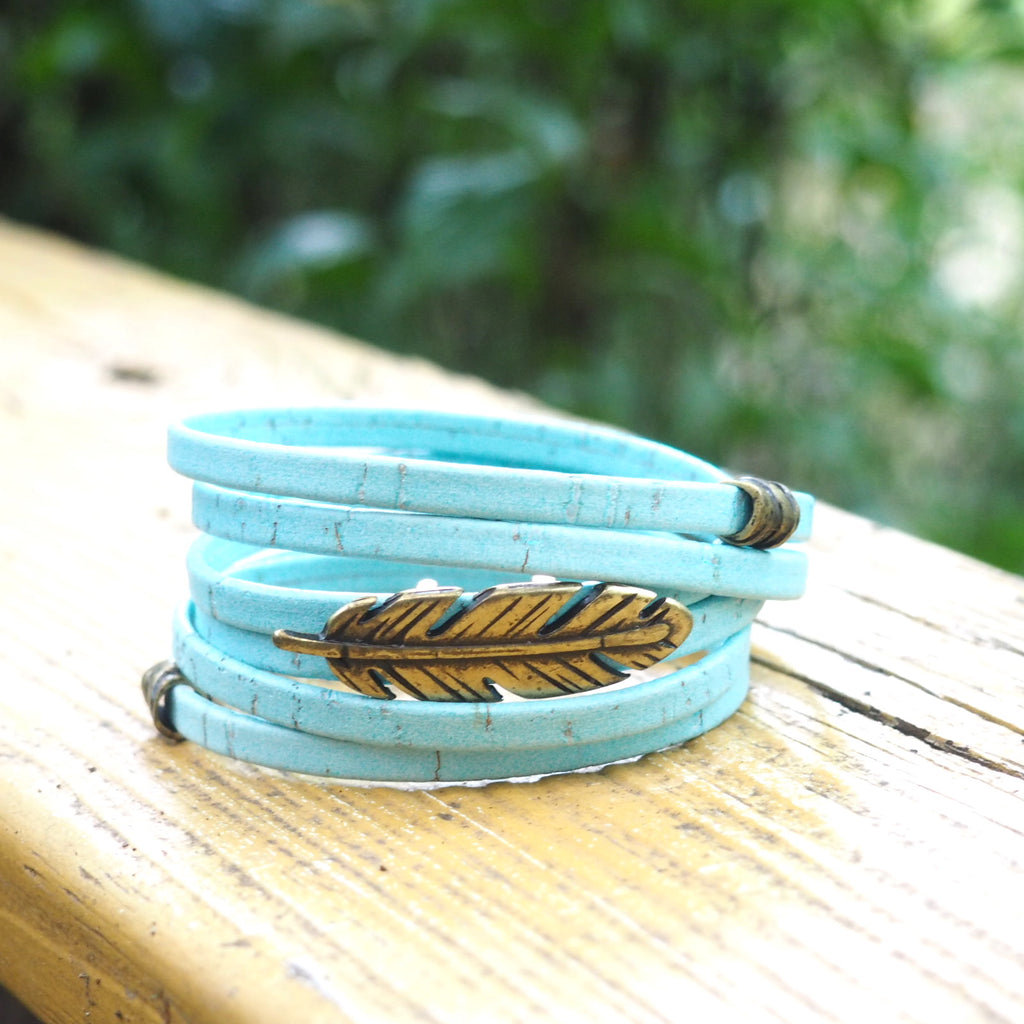 Baby Blue Cork with Brass Feather