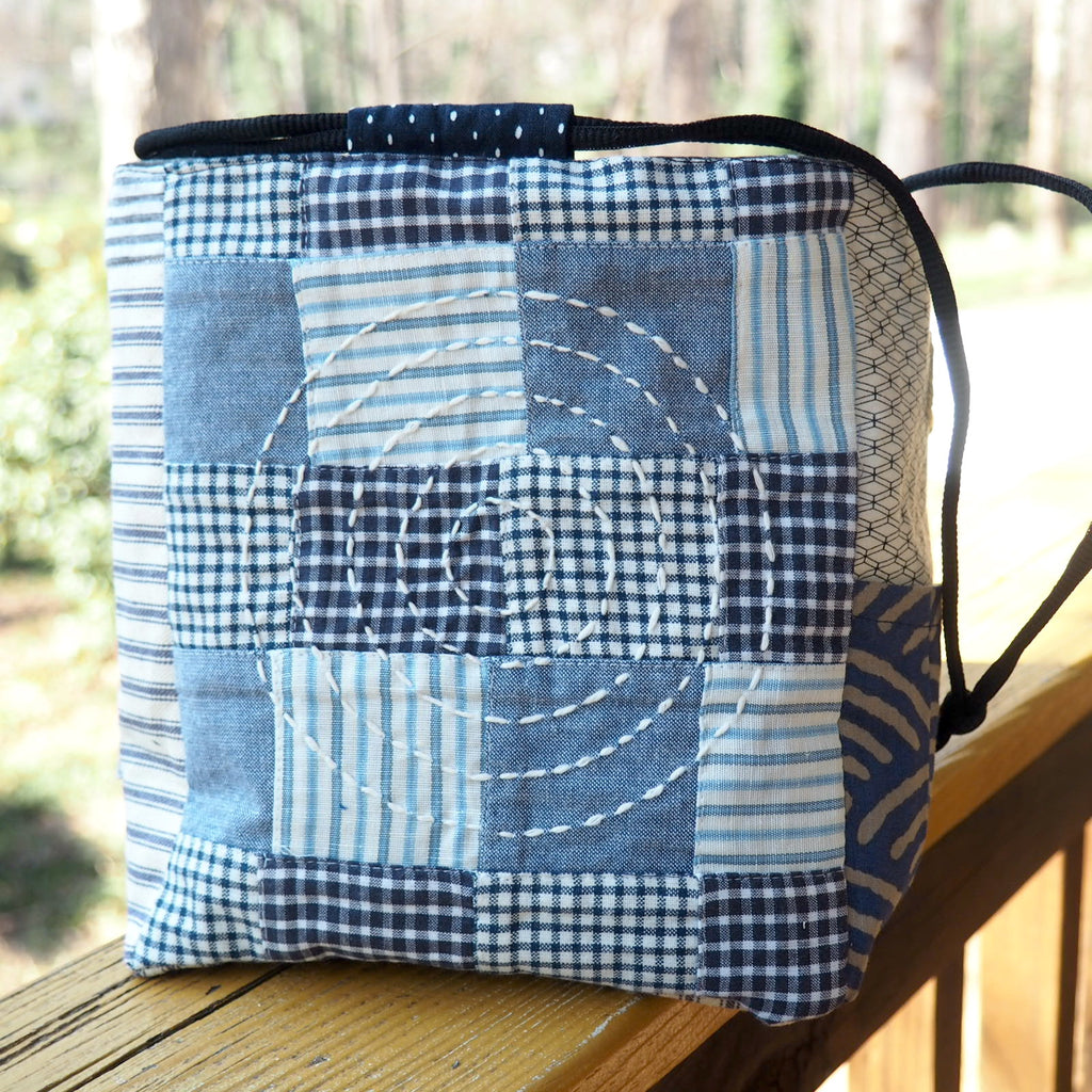Navy Madras Pouch, Japanese Rice Pouch, Komebukuro Bag, Pocket, Patchwork & Hand-stitched