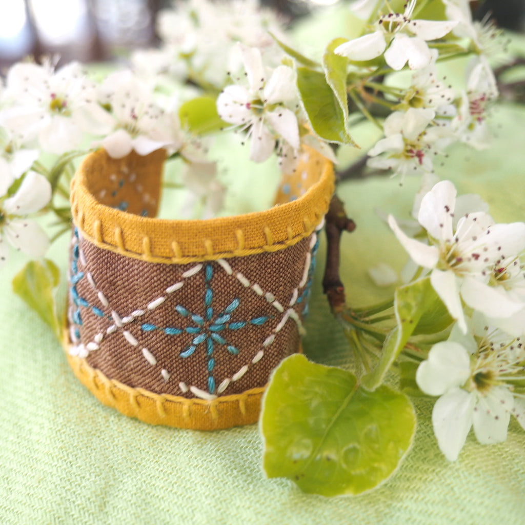 Chocolate Mustard Linen Little Stitches Cuff