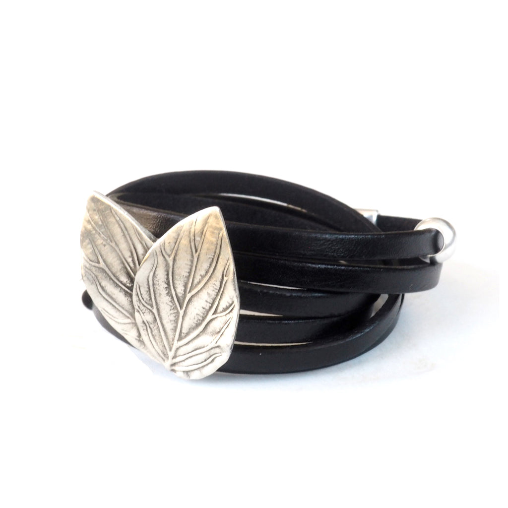 Black Leather Double Leaves-LARGE