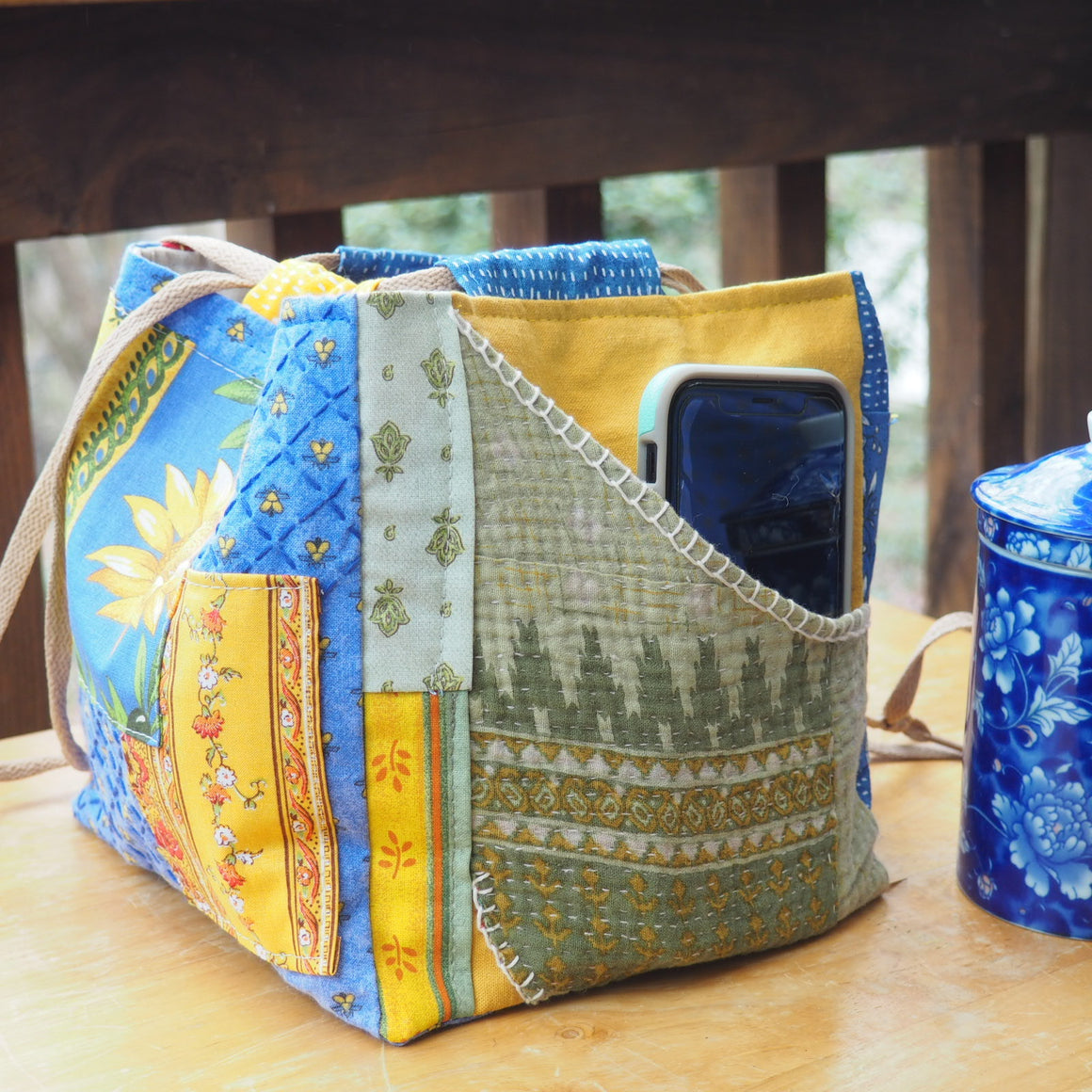 Provence Pouch, Japanese Rice Pouch, Komebukuro Bag, Pocket, Patchwork and Hand-stitched