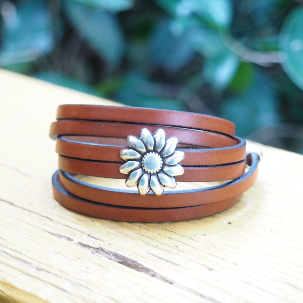 Brown Leather Sunflower~AVERAGE