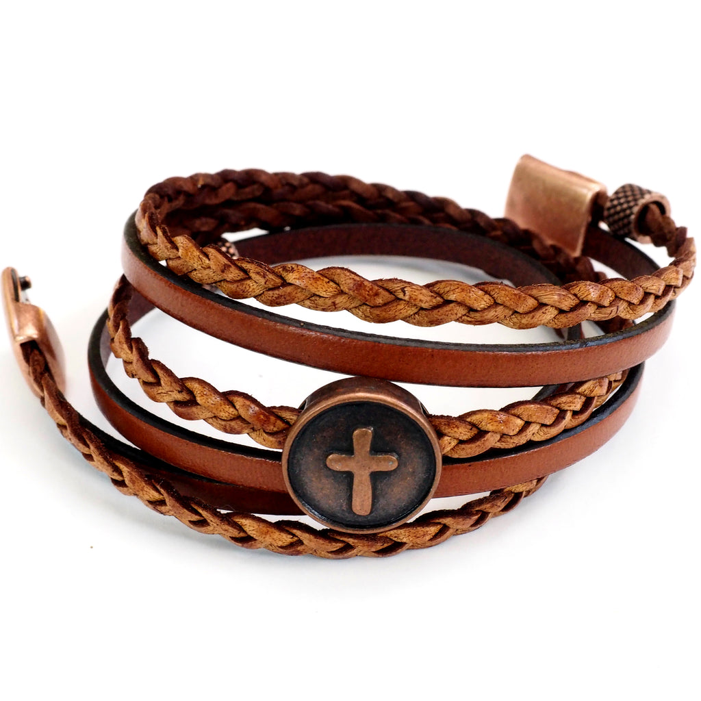 Copper Cross, Natural & Braided Leather~ SMALL