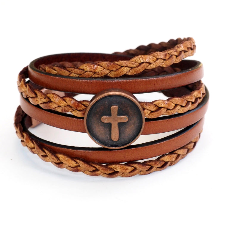 Copper Cross, Natural & Braided Leather~ AVERAGE