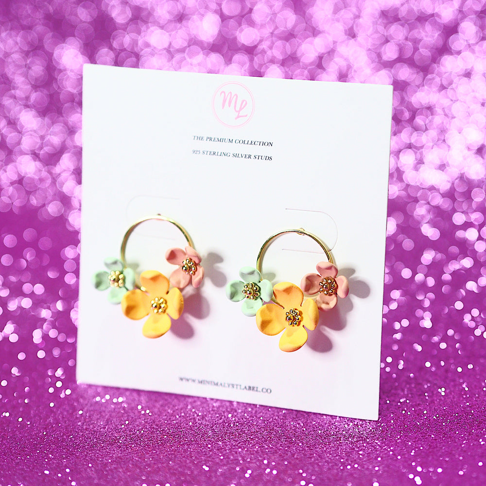 Daffodil Floral Earrings (925 Silver Stud)
