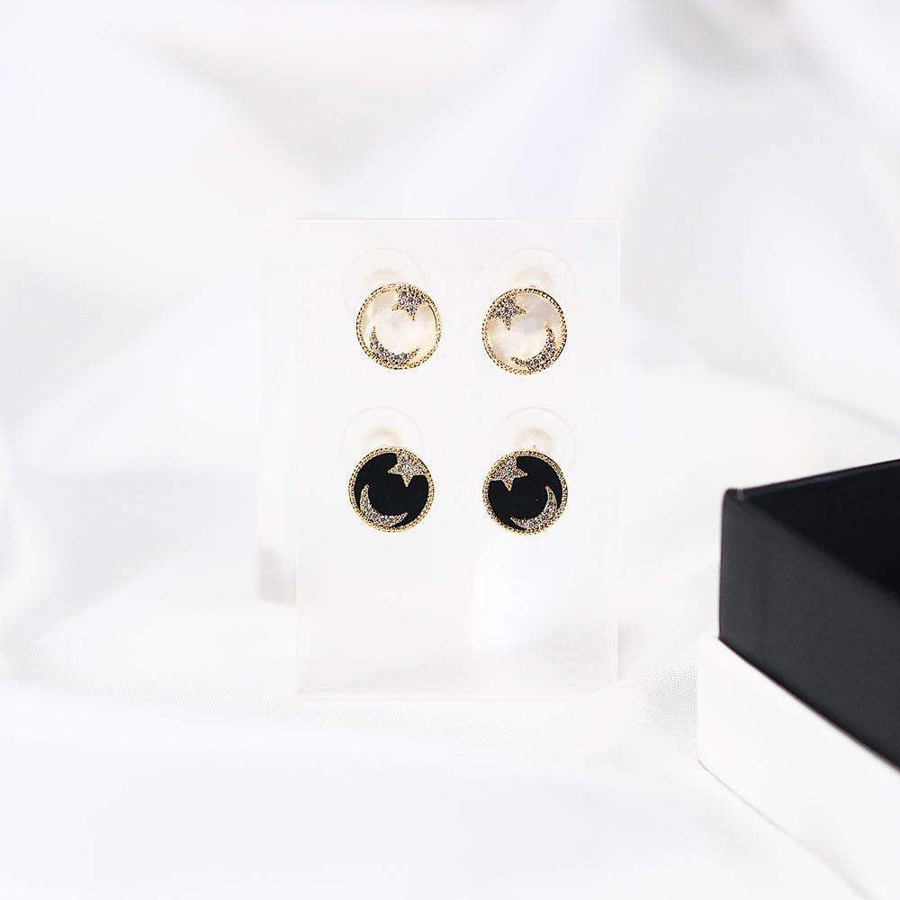 [SET OF 2] Halley Moon and Star Earrings (925 Silver Stud)