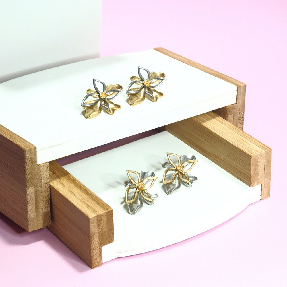 Varitia Metallic Floral Earrings (925 Silver Stud)