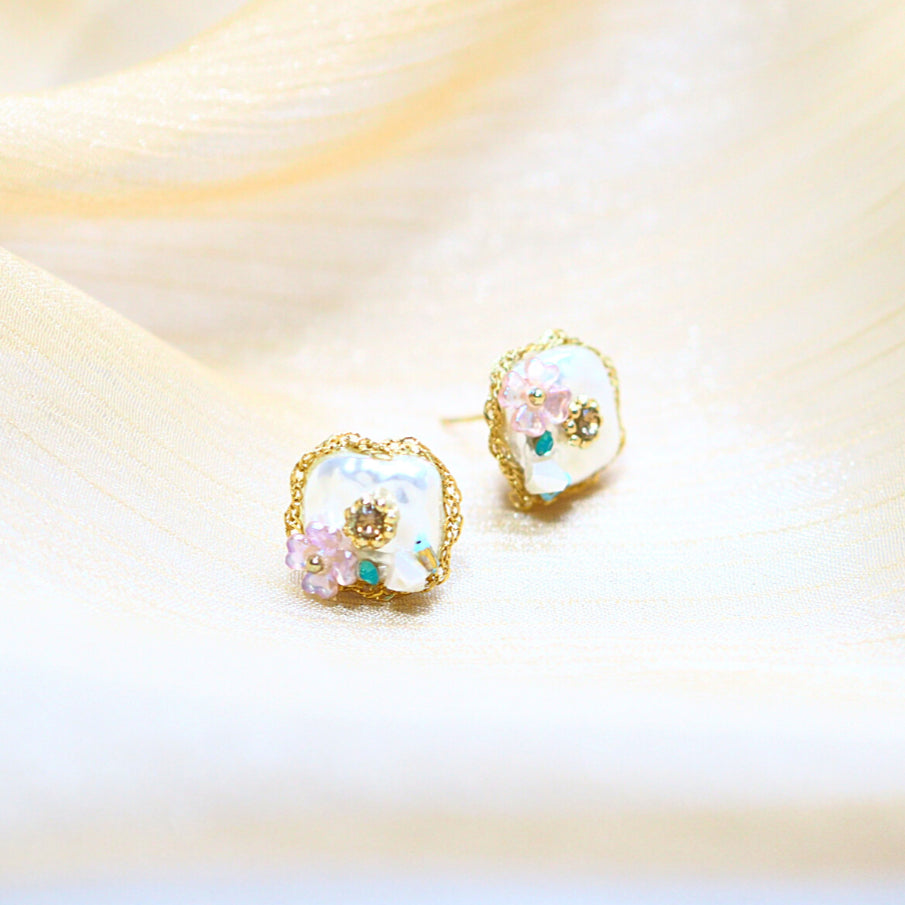 Amailey Floral Studded Earrings (925 Silver Stud)