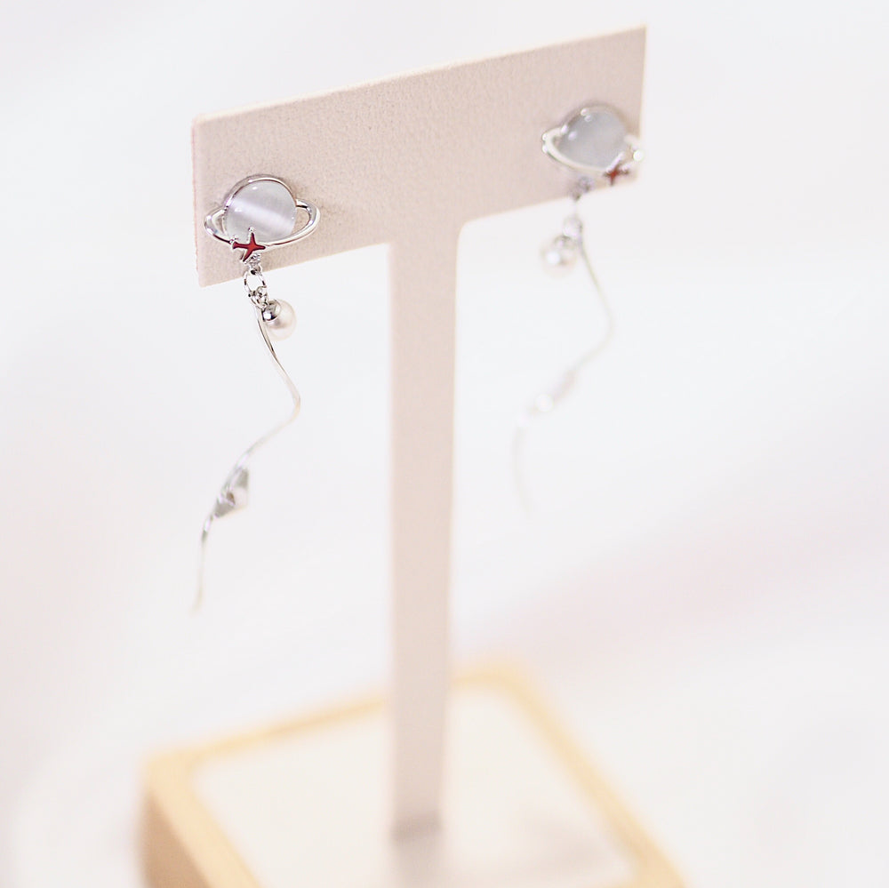 Brella Planet Drop Earrings (925 Silver Stud)