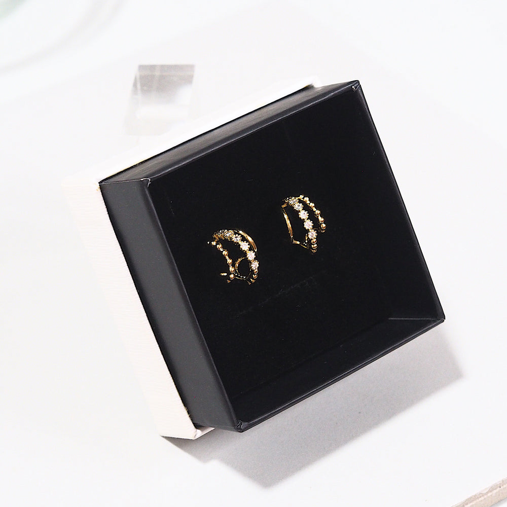 [SET OF 2] Elya Semi Hoop Earrings (925 Silver Stud)