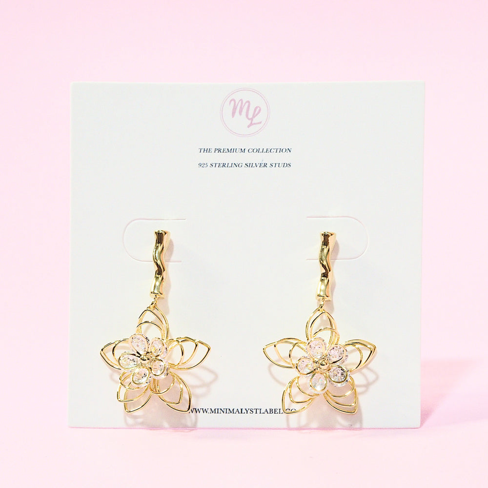 Petunia Floral Drop Earrings (925 Silver Stud)