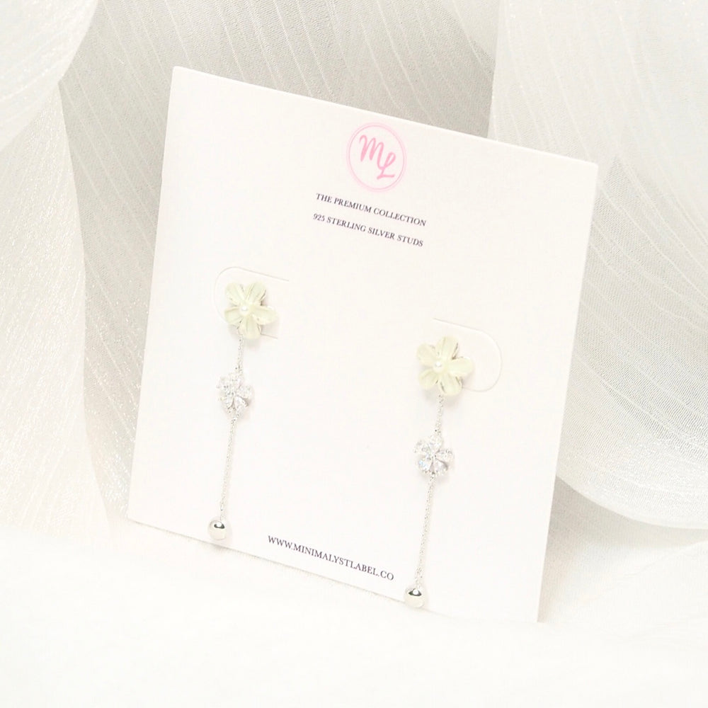 Lina Floral Drop Earrings (925 Silver Stud)
