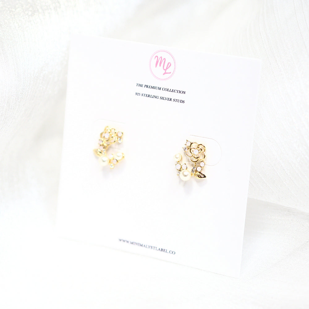 Addi Floral Studded Earrings (925 Silver Stud)
