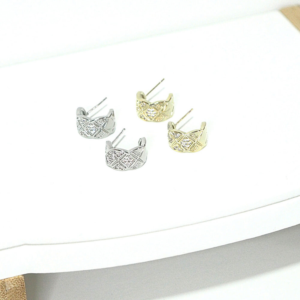 [SET OF 2] Merna Semi Hoop Earrings (925 Silver Stud)