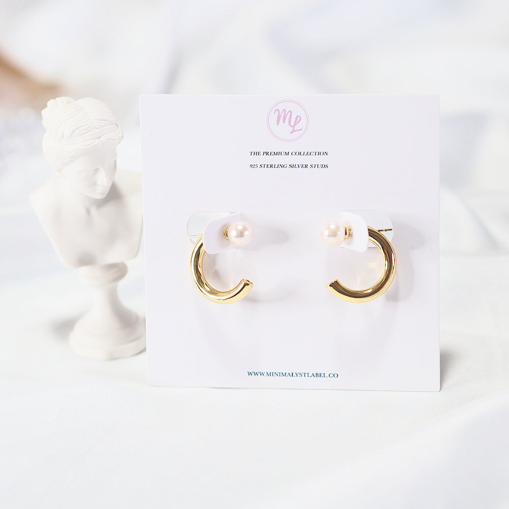 The Ven Pearl Semi Hoop Earrings (925 Silver Stud)