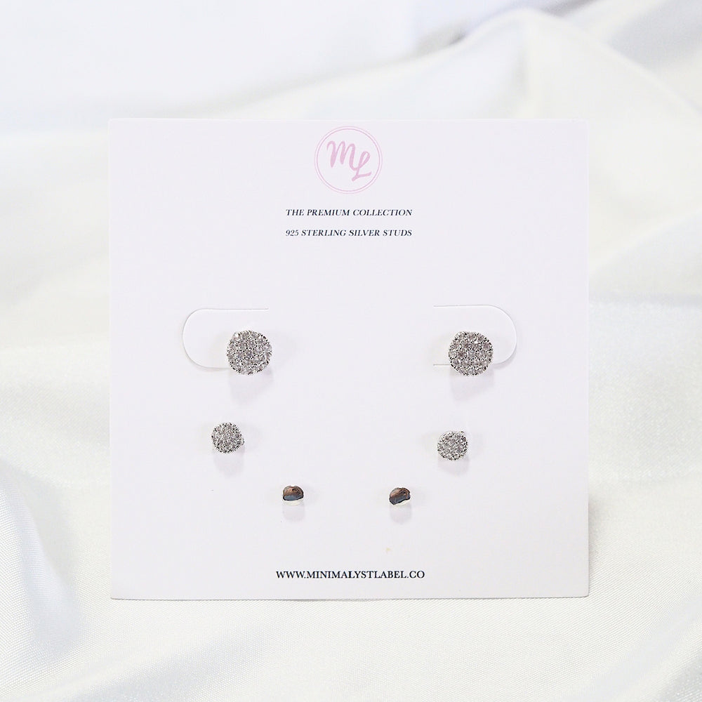 [SET OF 3] The Becca Studded Earrings [basic] (925 Silver Stud)