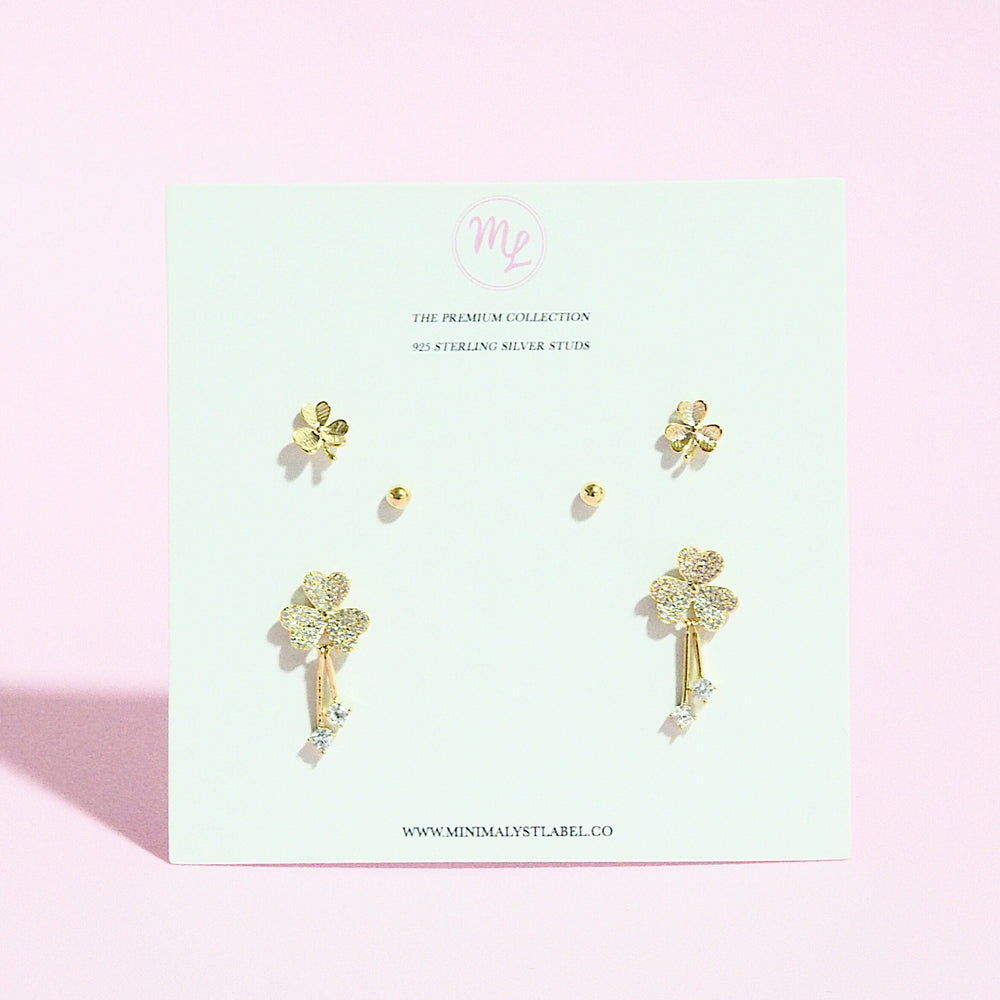 [SET OF 3] Acantha Clover Earrings (925 Silver Stud)