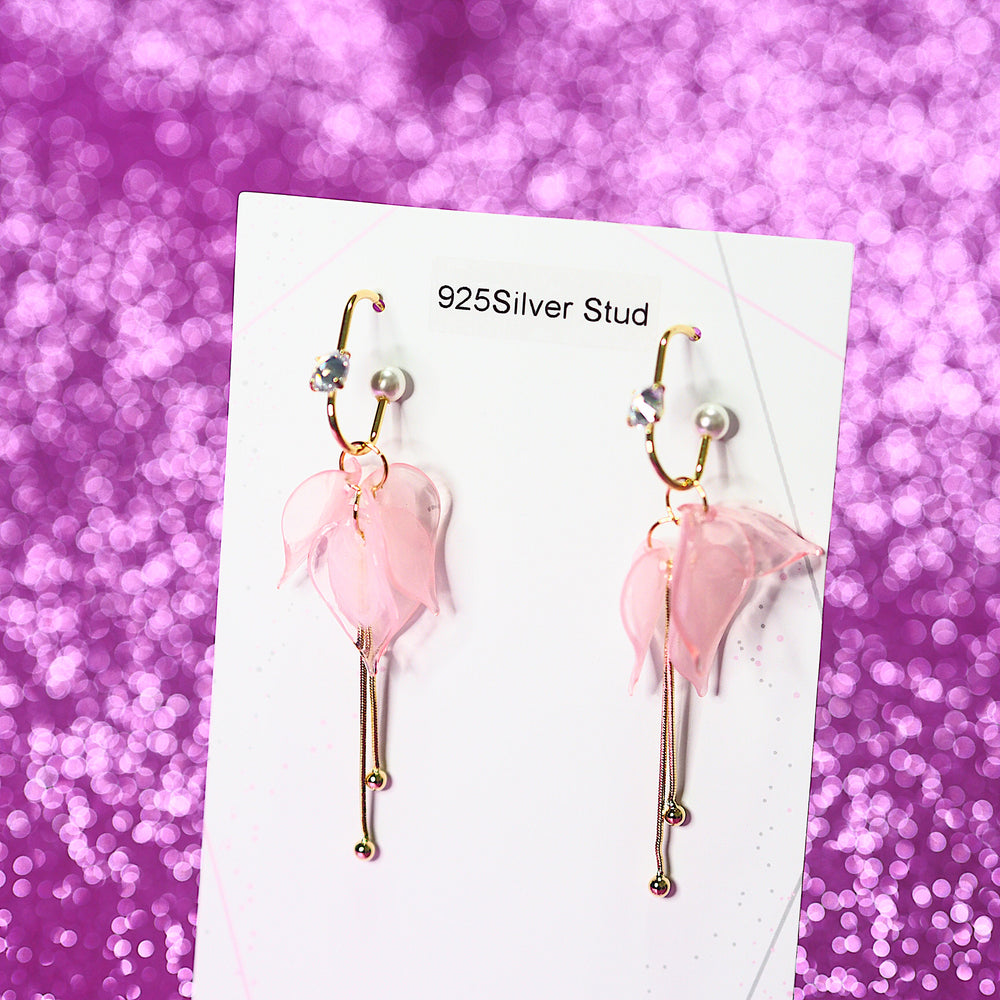 Holly Petal Drop Earrings (925 Silver Stud)