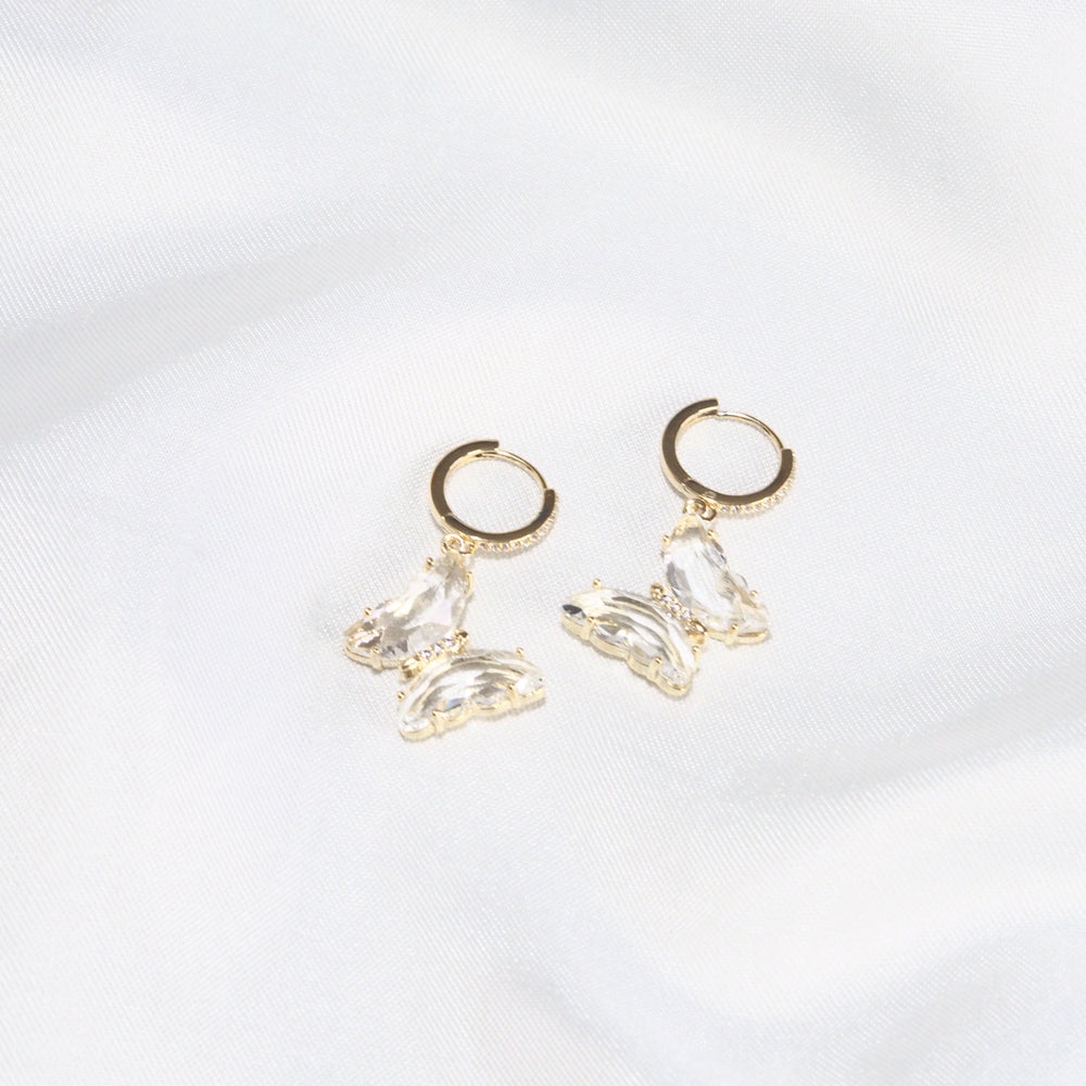 Icarius Butterfly Earrings [huggies ver.] (925 Silver Stud)