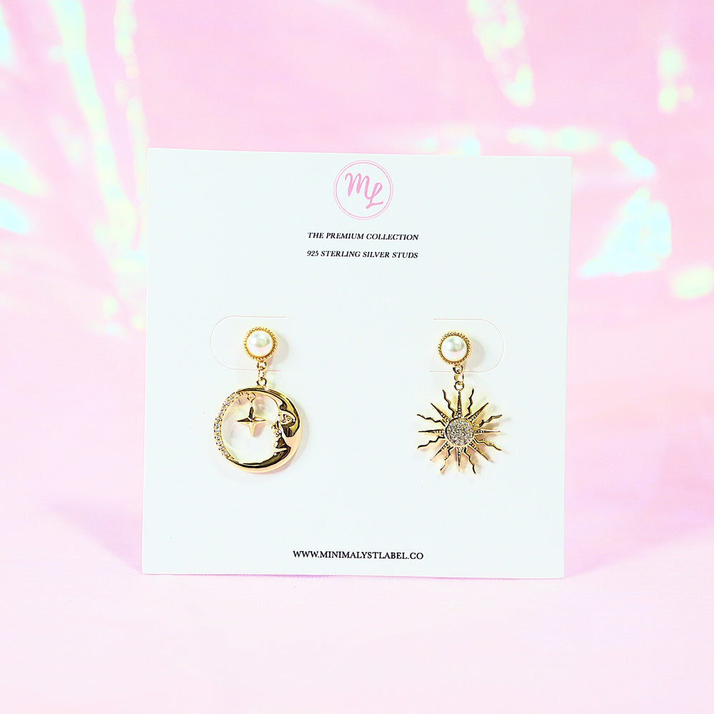 Solar & Crescent Asymmetrical Earrings (925 Silver Stud)