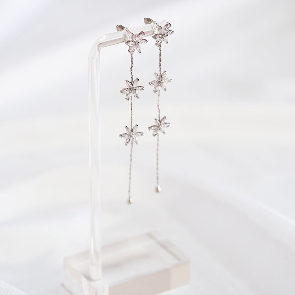 Mona Floral Drop Earrings (925 Silver Stud)