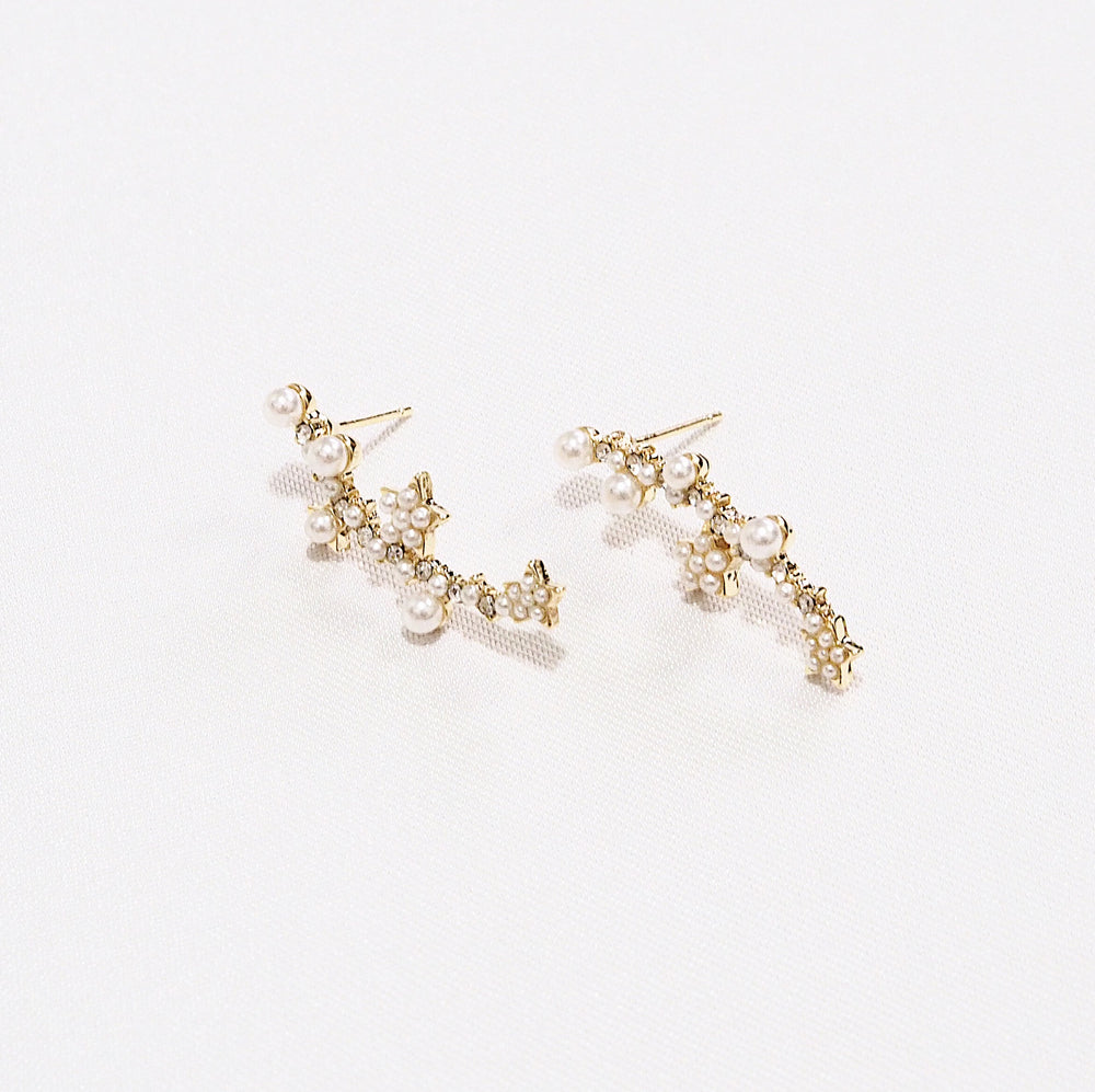 Klara Pearl Drop Earrings (925 Silver Stud)