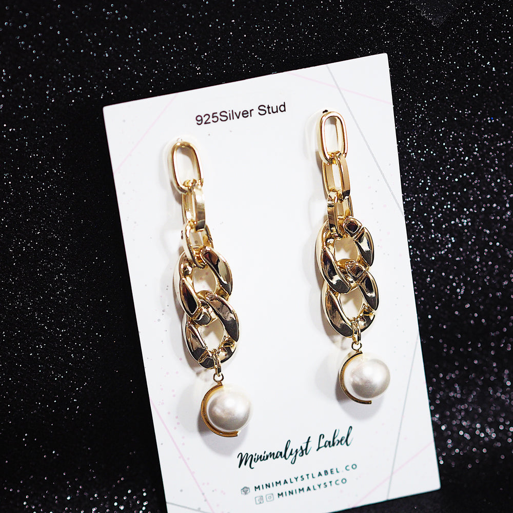 Pablo Chain Earrings (925 Silver Stud)
