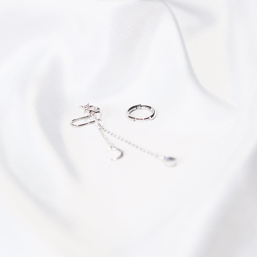 Nova Huggies & Cuff Earrings (925 Silver Stud)