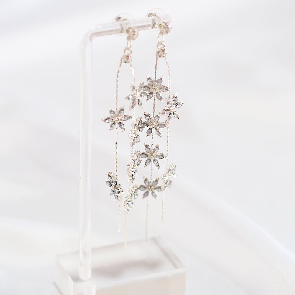 Bokeh Floral Drop Earrings (925 Silver Stud)