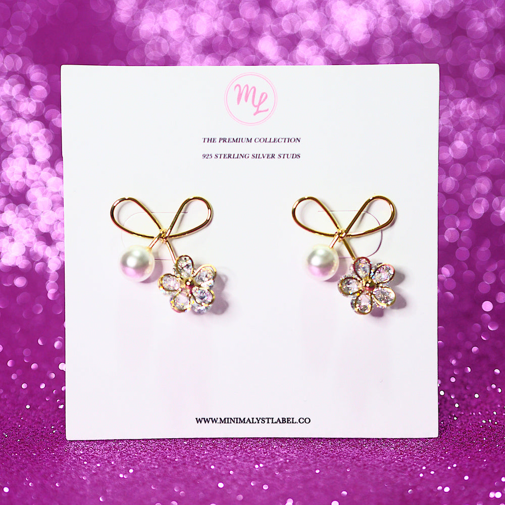 Florin Ribbon Earrings (925 Silver Stud)