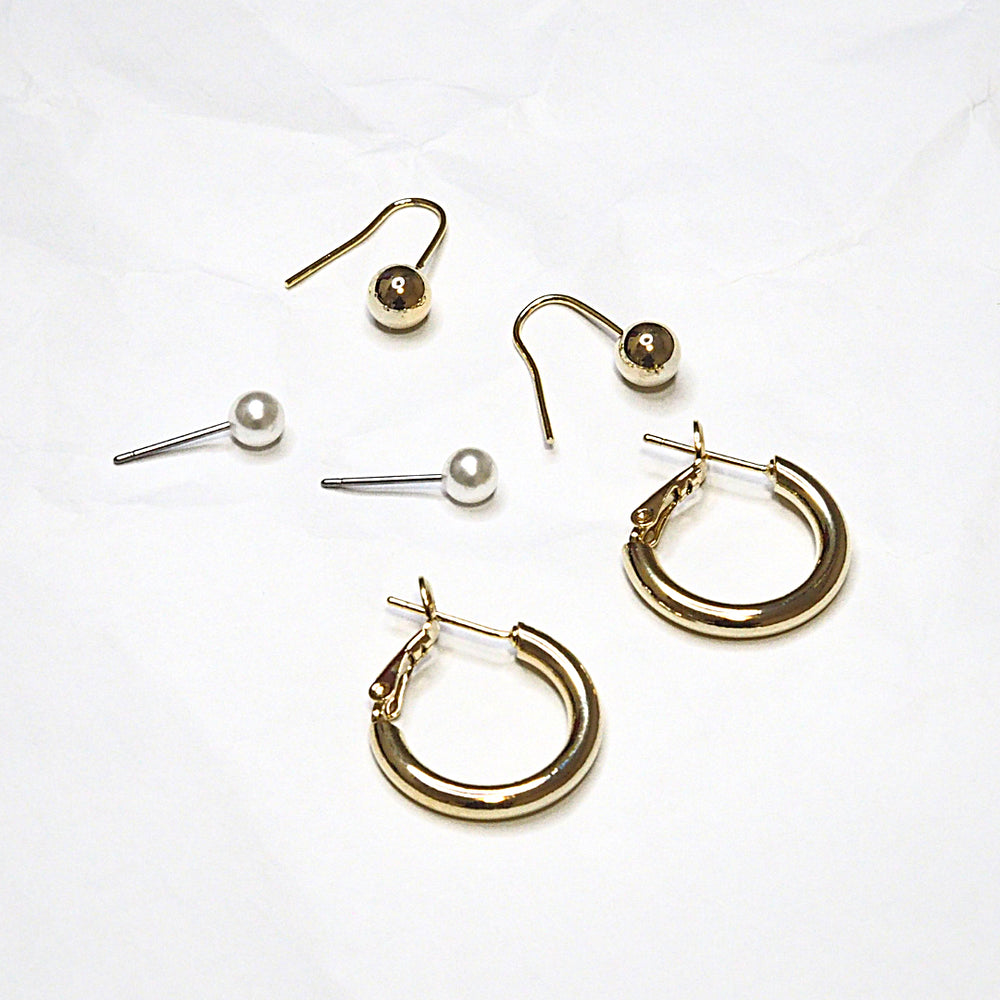 [SET OF 3] The Volo Pearl, Hook and Hoop (925 Silver Stud)
